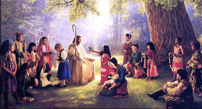 Jesus lumière avec paysan