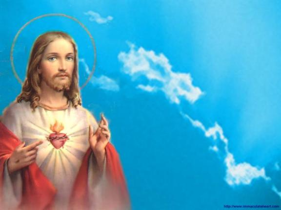 Jesus coeur - ciel bleu